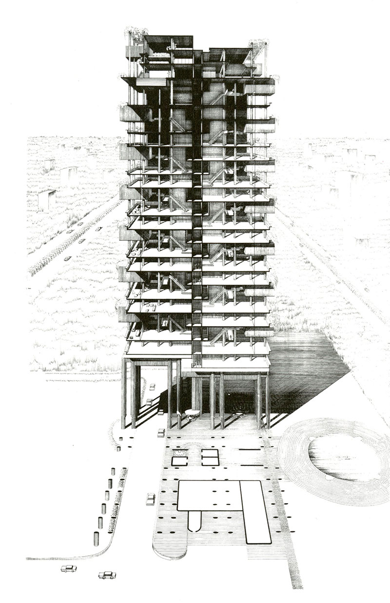 Perspective and plan of Paul Rudolph's The Colonnade, Singapore