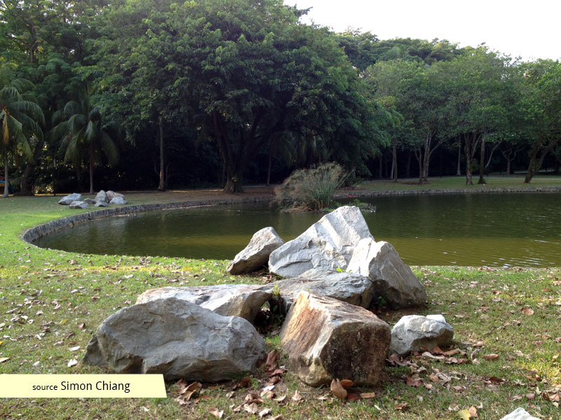 Japanese garden design influence in rock formations at East Coast Park Singapore