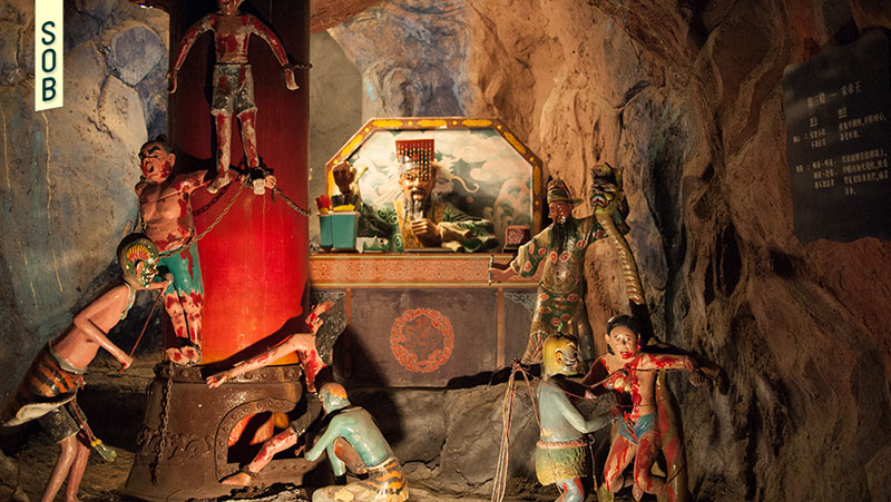 Ten courts of hell sculptures and diorama at Haw Par Villa Singapore