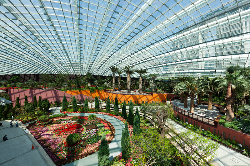 Inside the Flower dome Cooled Conservatory, Gardens by the Bay Singapore