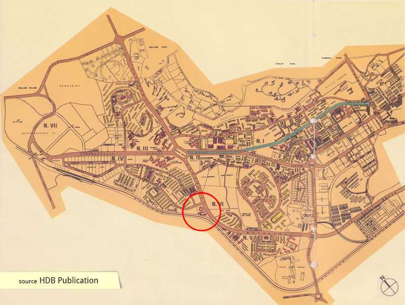 Historical map of Queenstown satellite town showing Blessed Sacrament Church