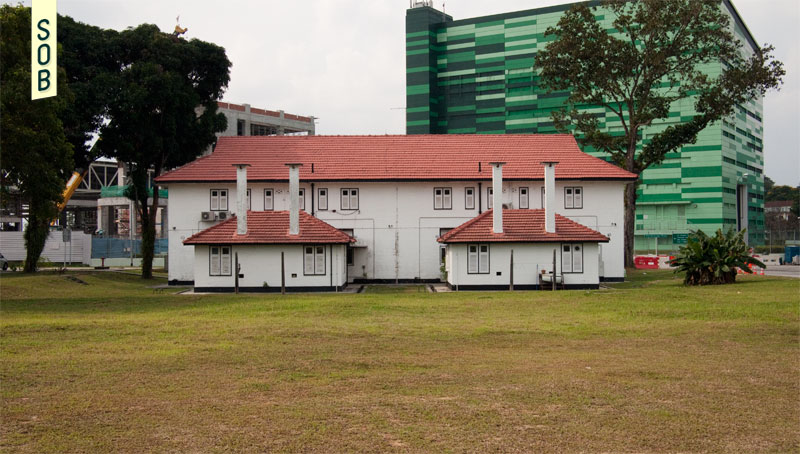 Old Birdcage Walk RAF Seletar accommodation with Aerospace building overlooking it