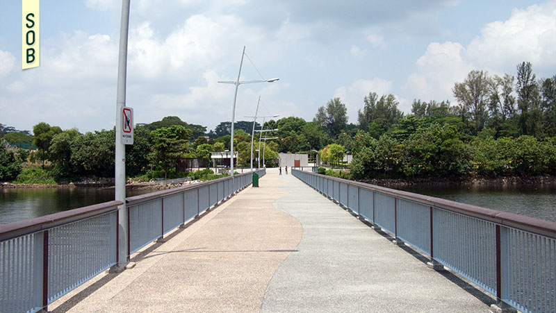 View of Woodlands Waterfront Park from the jetty