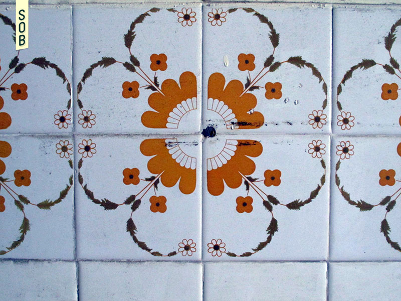Old domestic floral tiles at Neo Tiew Estate