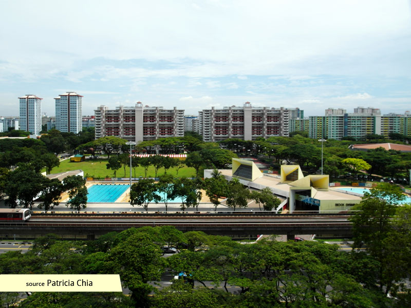 Aerial view of Bedok Swimming Complex 2013