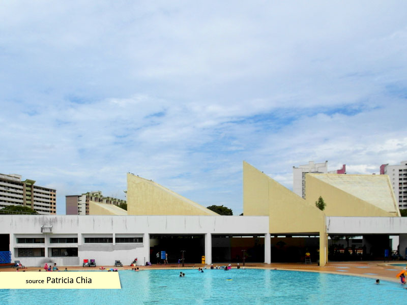 Rear elevation of Bedok Swimming Complex