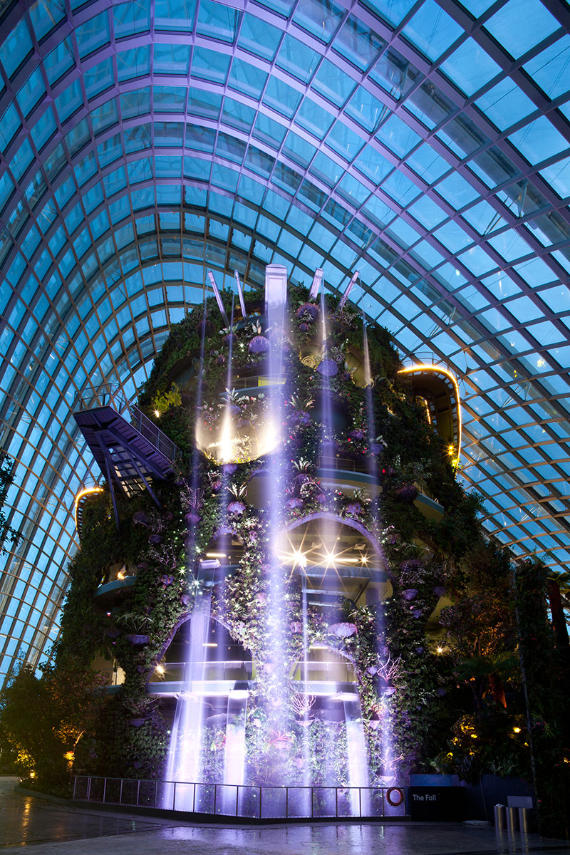 Cloud forest waterfall at dusk, Gardens by the Bay Singapore