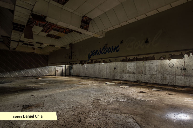 Abandoned bowling alley at Queenstown Cinema and Bowl