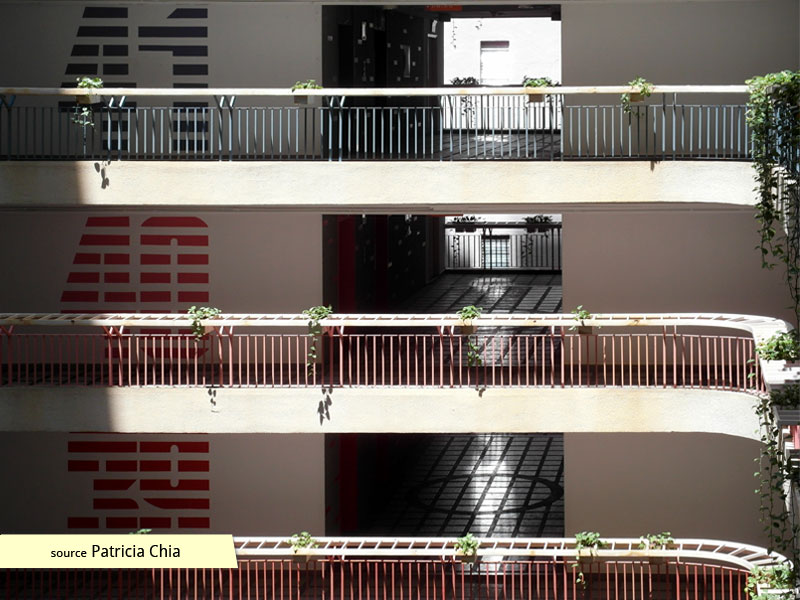 Daylit balconies and corridors of International Plaza Singapore