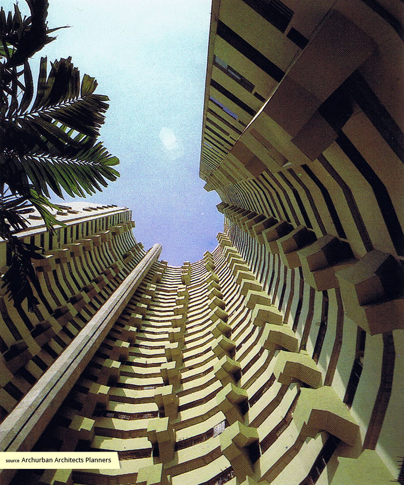 View upwards from garden of Pearl Bank Apartments
