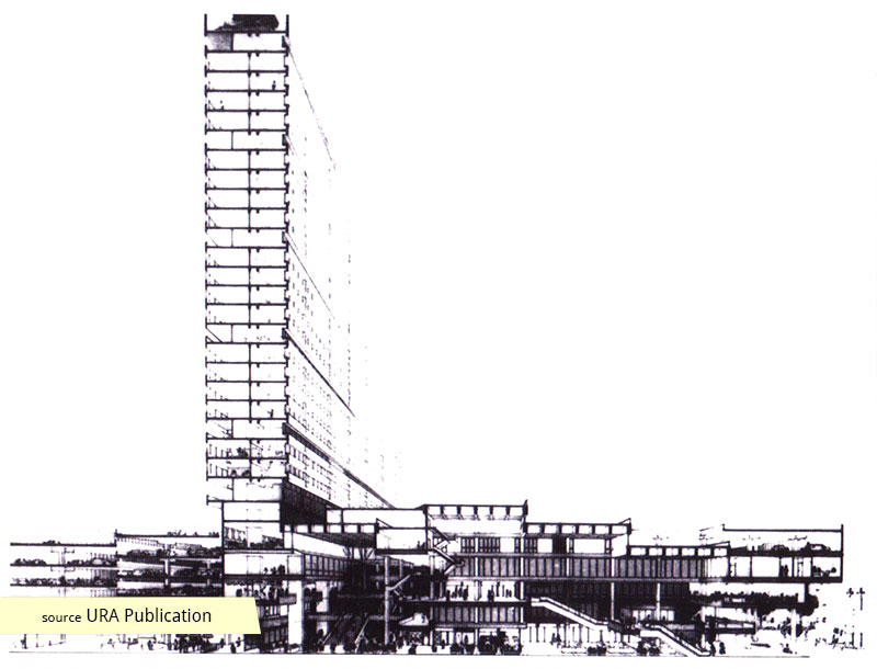 Sectional perspective drawing of People's Park Complex showing City Room idea