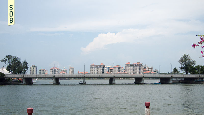 Obscured modern day view of St Johns Island from Kallang Riverside Park