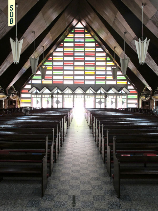 Interior view of Blessed Sacrament Church looking towards entrance