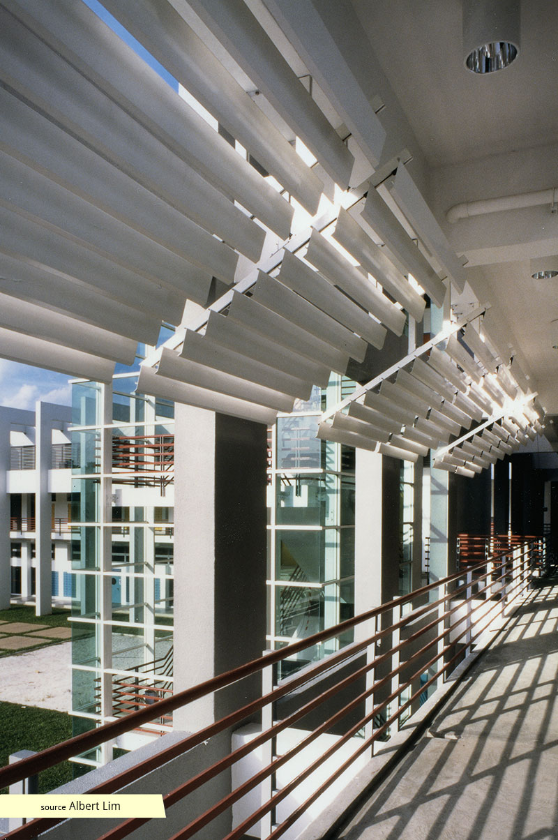Sunshading devices along common corridor of ITE Balestier
