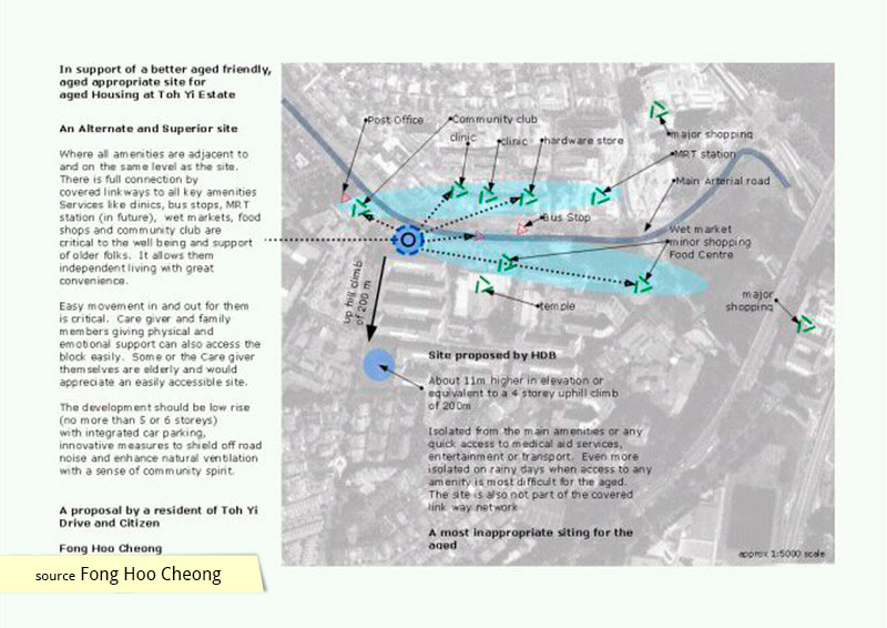 Resident proposal for alternate elderly housing site in Toh Yi estate