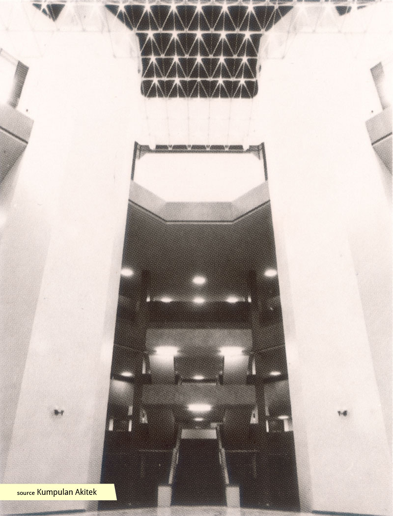 The imposing interior atrium of the Subordinate Courts Singapore