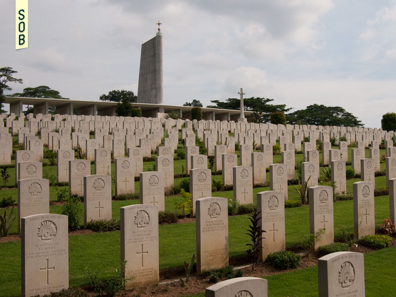 Field of headstones at Kranji War Memorial and Cemetery