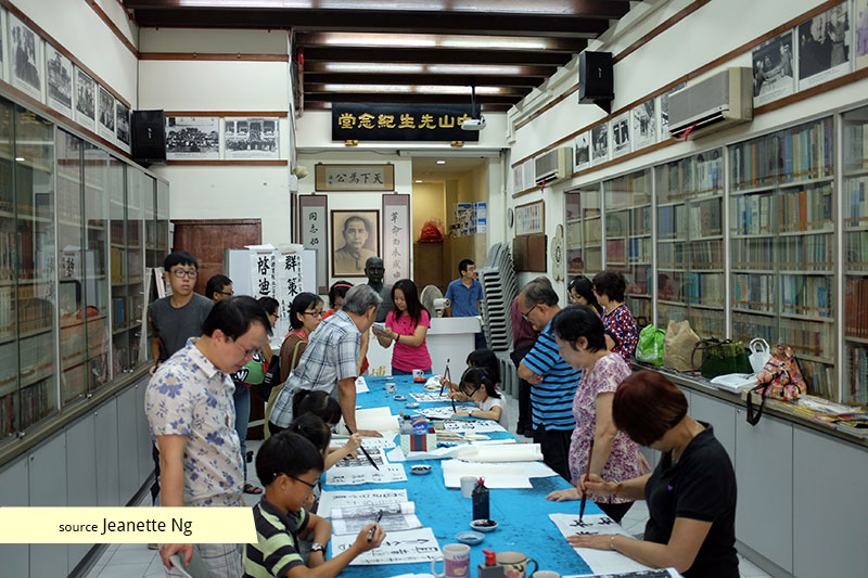 Chinese calligraphy session at United Chinese Library