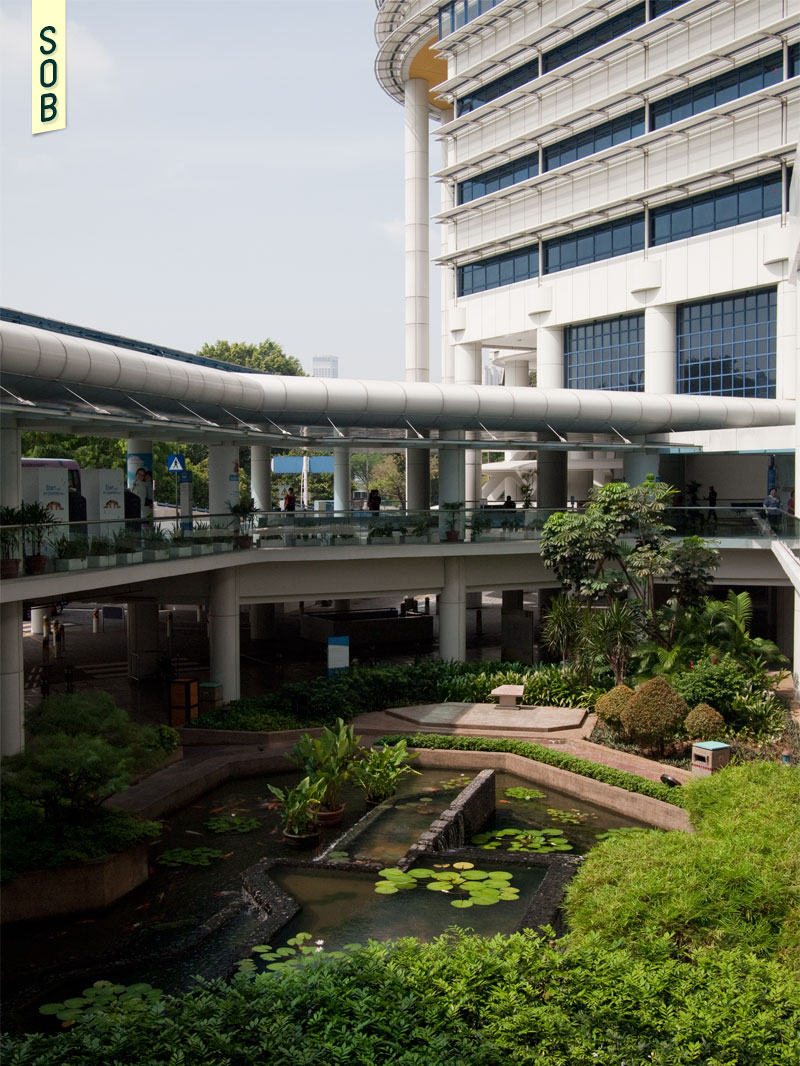 Lush sunken gardens between carpark and public lobby at KK Hospital by Tay Kheng Soon
