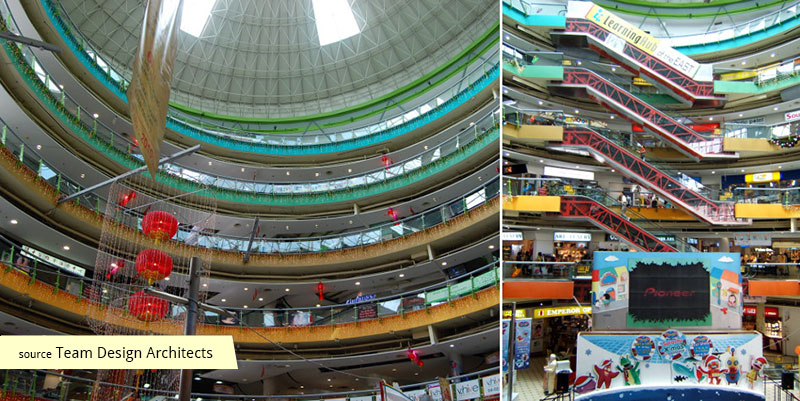 Cylindrical atrium of Eastpoint Mall Singapore