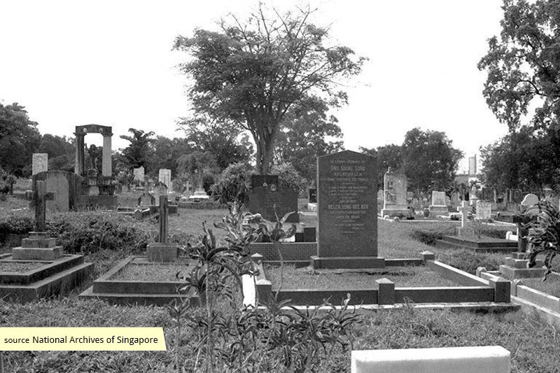 Burial site of Ong Siang Song and his wife, Helen Song Hee Neo at Bidadari Cemetery