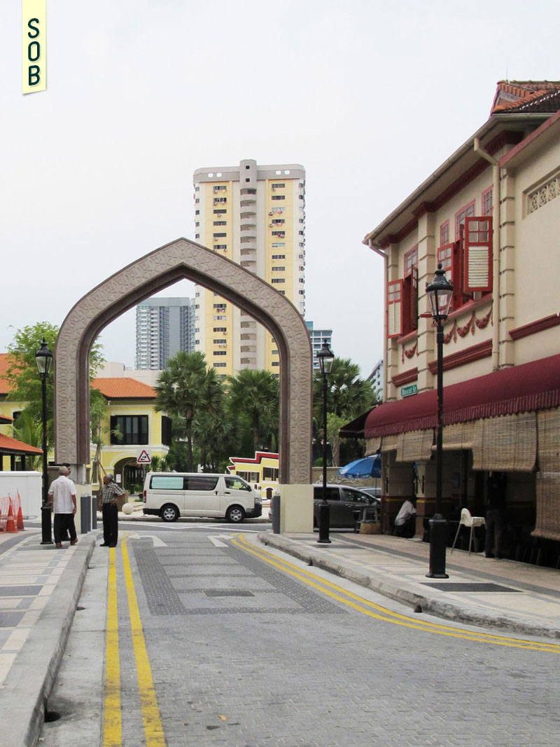 New arches outside of the Sultan Mosque connecting Kandahar Street and Arab Street
