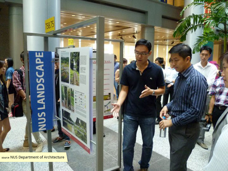 NUS student with Minister Tan Chuan Jin at the Reimagining the Rail Corridor exhibition, URA Centre, 2011