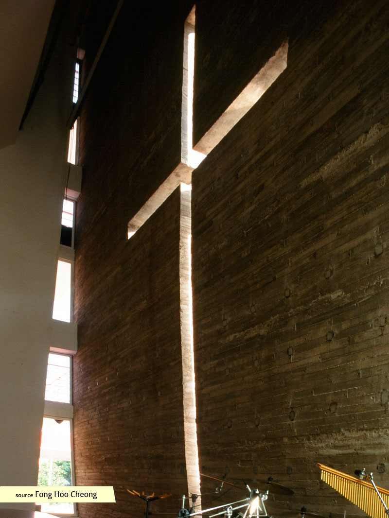 The naturally-lit cross of Grace Methodist Church