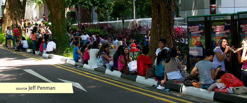 Filipino domestic workers gathering in Orchard Road Singapore on Sundays