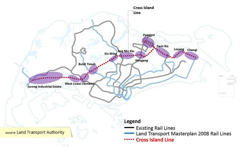 LTA masterplan map of Cross Island Line 2013