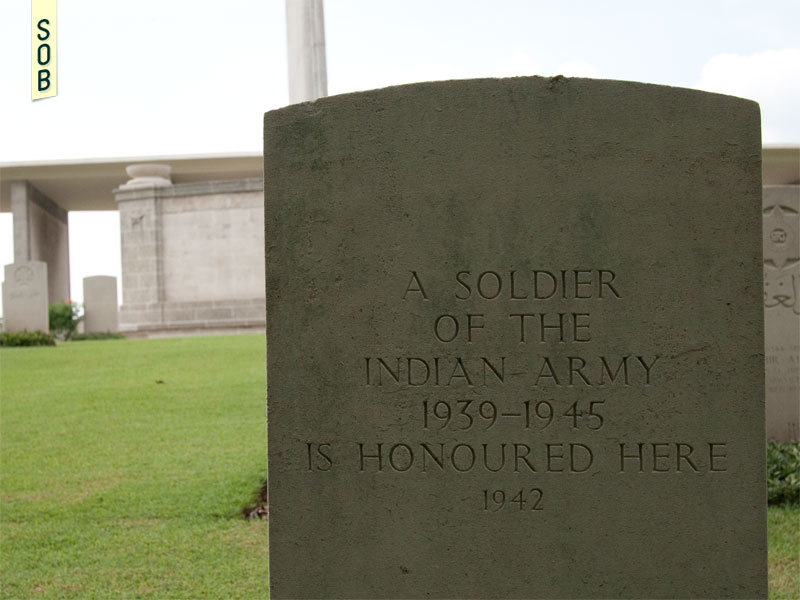 Headstone of a nameless Indian soldier at Kranji War Memorial and Cemetery