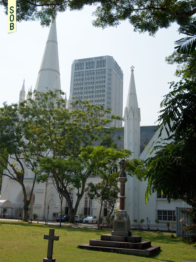 St Andrew's Cathedral's Gothic architecture juxtaposed with Peninsula Plaza's Gothic influence