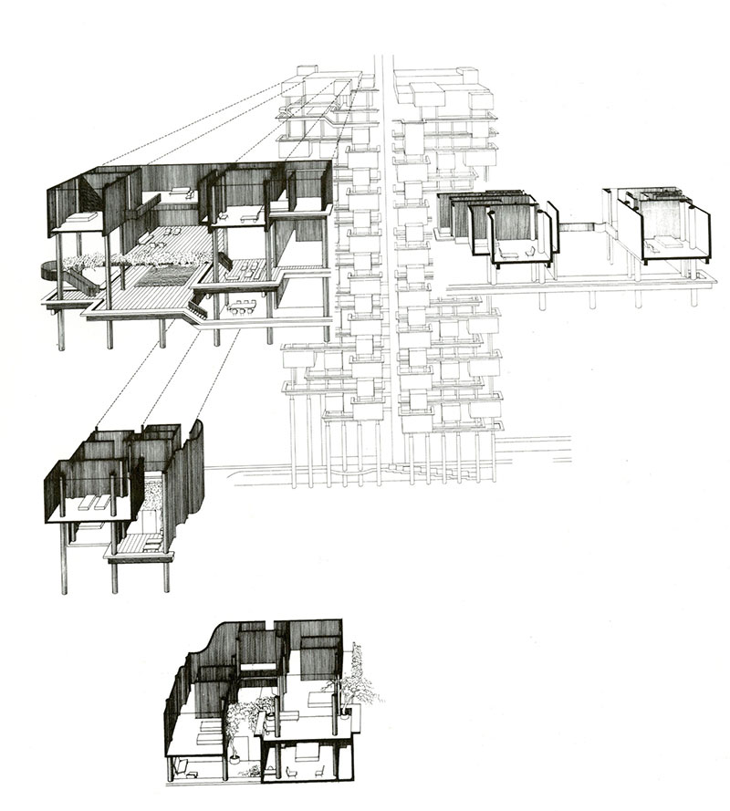 Exploded perspective drawing of apartment units of The Colonnade Singapore