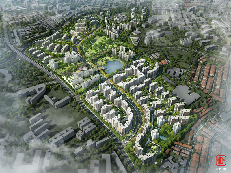 An artist's overview of the proposed Bidadari development from HDB