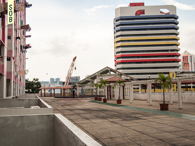 Elevated community space and void decks at Rochor Centre