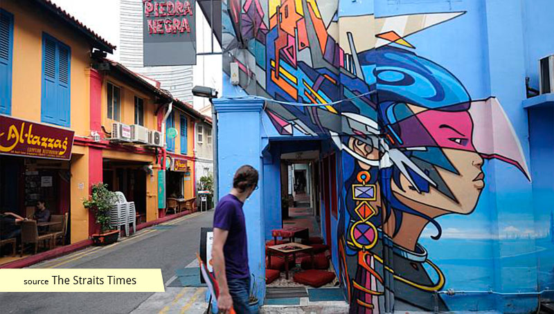 Haji Lane Mural near Blu Jaz Cafe in 2012