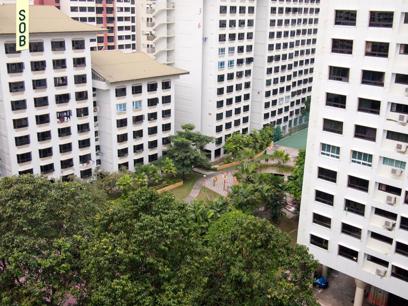 Stepped blocks and park of Choa Chu Kang Blks 631-637