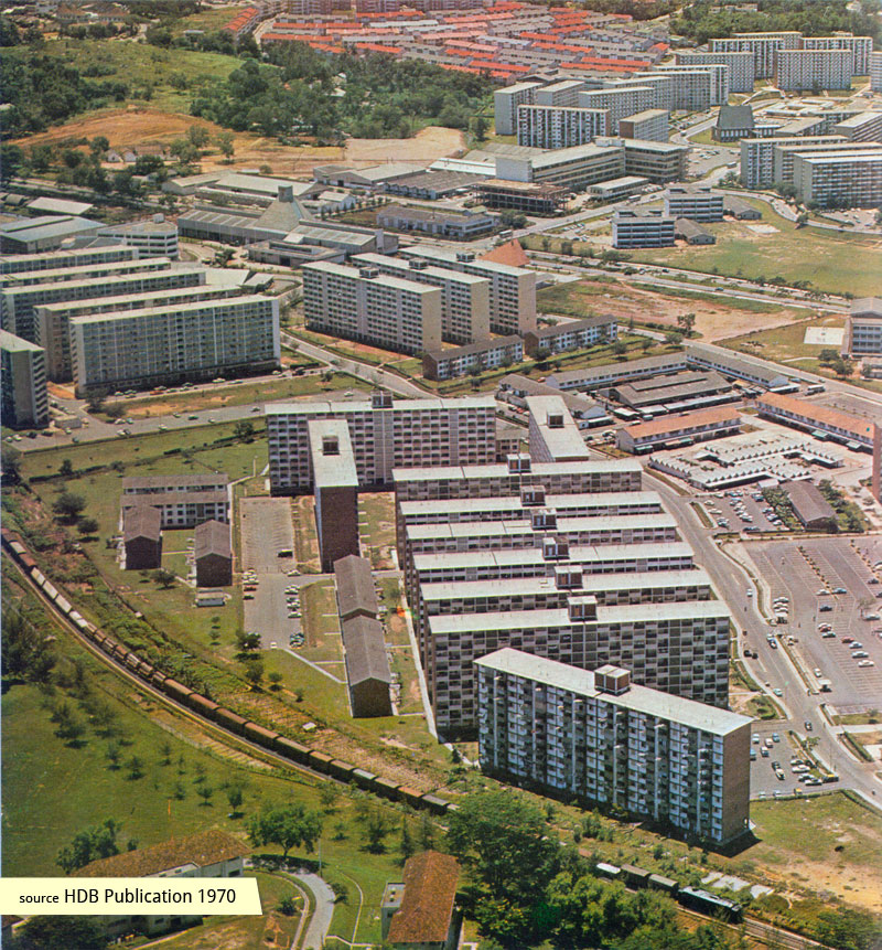 1970 aerial view of Commonwealth Drive Blks 74-80