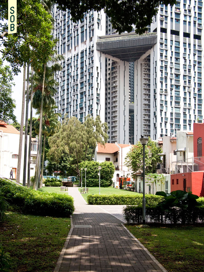 The Pinnacle@Duxton overlooks Duxton Plain Park