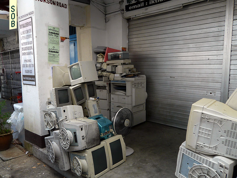 Used computer parts along the five foot way, Dickson Road