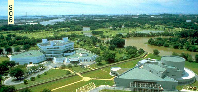 Aerial view of the Science Centre Singapore and the Singapore Omni-Theatre