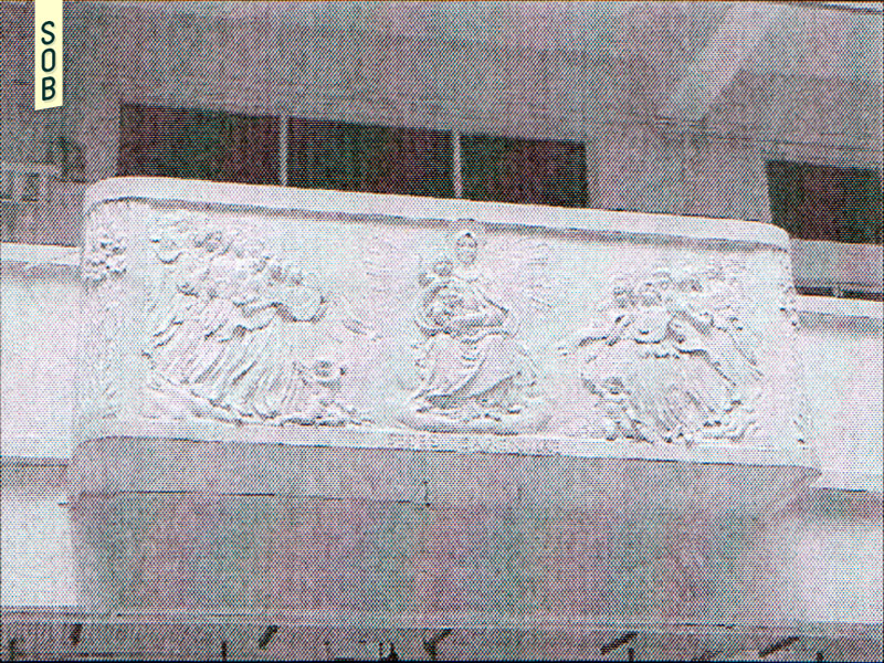 Religious reliefs in the courtyard of NAFA Middle Road campus