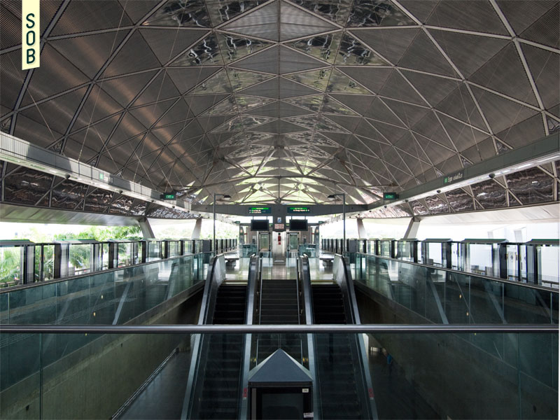 Faceted ceiling of Expo MRT Station