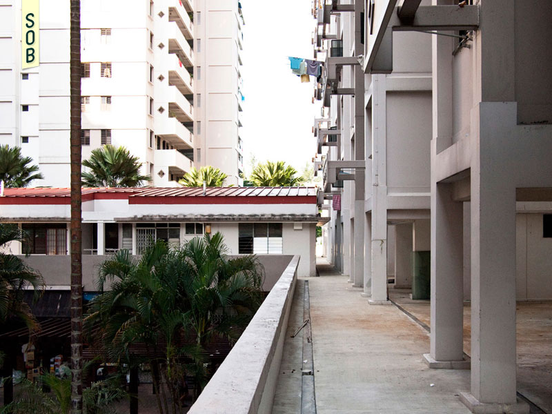 Second floor housing units and void deck at Precinct North 1