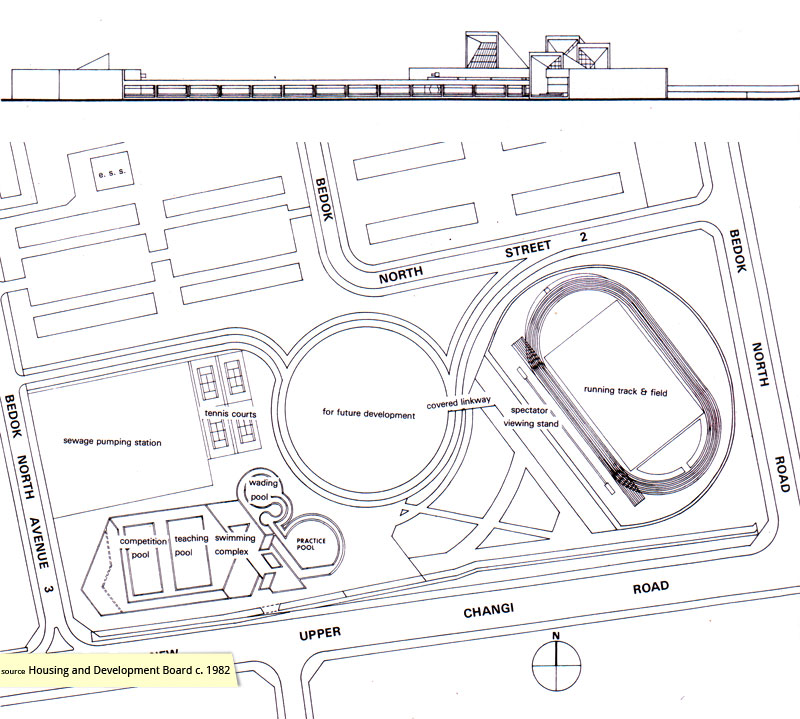 Plan and elevation of Bedok Swimming Complex